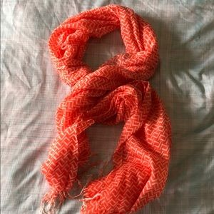 Orange and white patterned  scarf